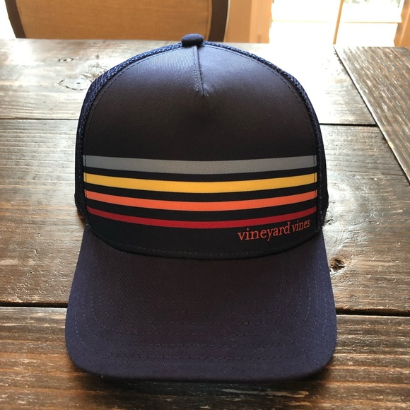 92cc0899 Vineyard Vines Accessories | Blue Sunset Stripe Trucker Hat | Poshmark